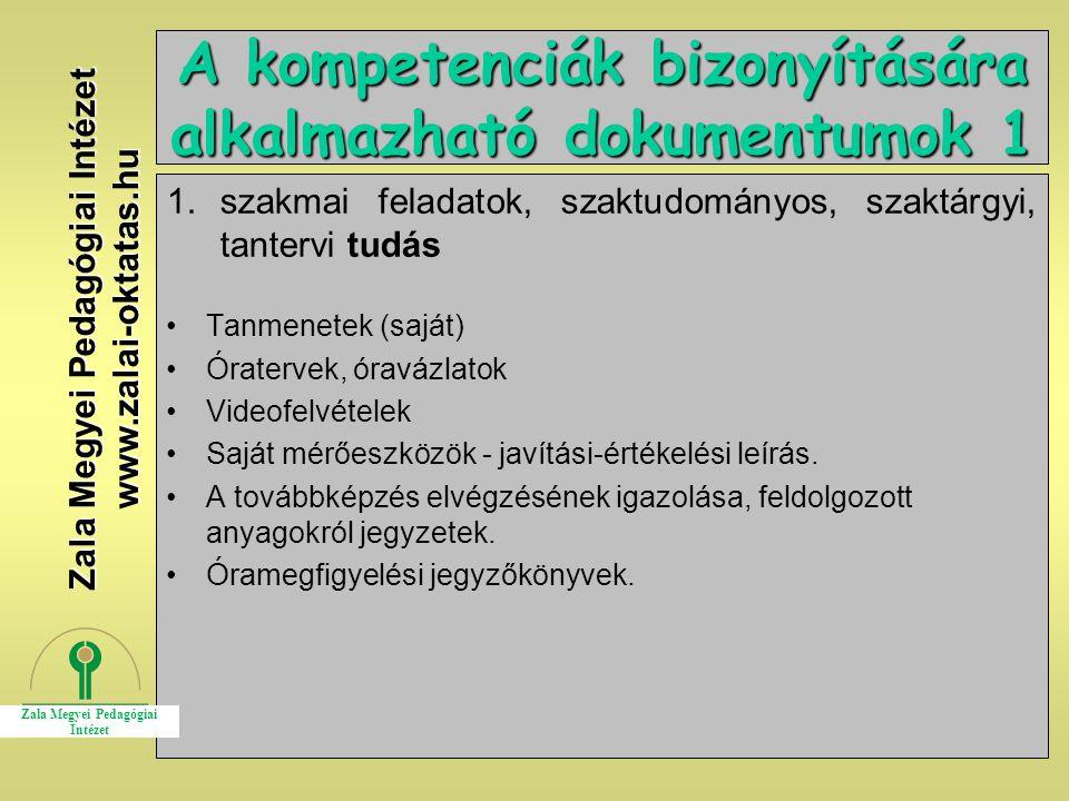 A kompetenciák bizonyítására alkalmazható dokumentumok 1