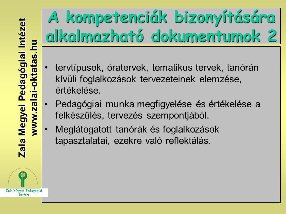 A kompetenciák bizonyítására alkalmazható dokumentumok 2
