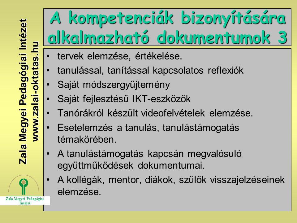 A kompetenciák bizonyítására alkalmazható dokumentumok 3