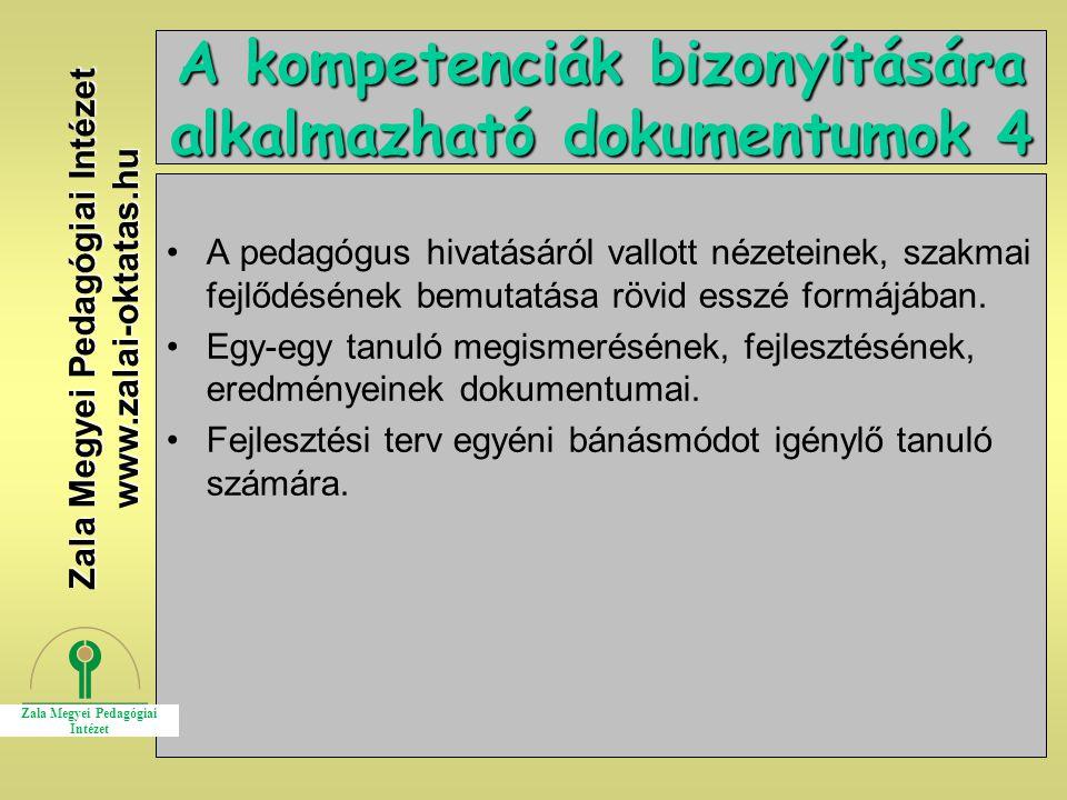A kompetenciák bizonyítására alkalmazható dokumentumok 4