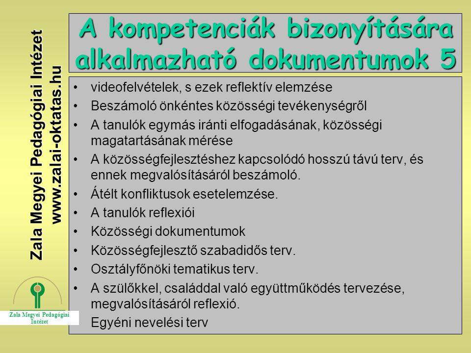 A kompetenciák bizonyítására alkalmazható dokumentumok 5