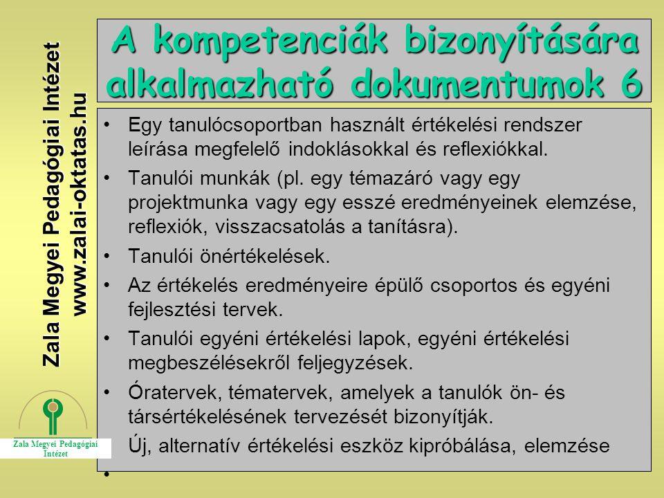 A kompetenciák bizonyítására alkalmazható dokumentumok 6