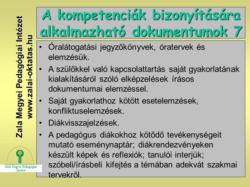 A kompetenciák bizonyítására alkalmazható dokumentumok 7