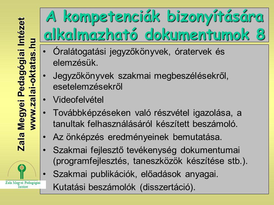 A kompetenciák bizonyítására alkalmazható dokumentumok 8