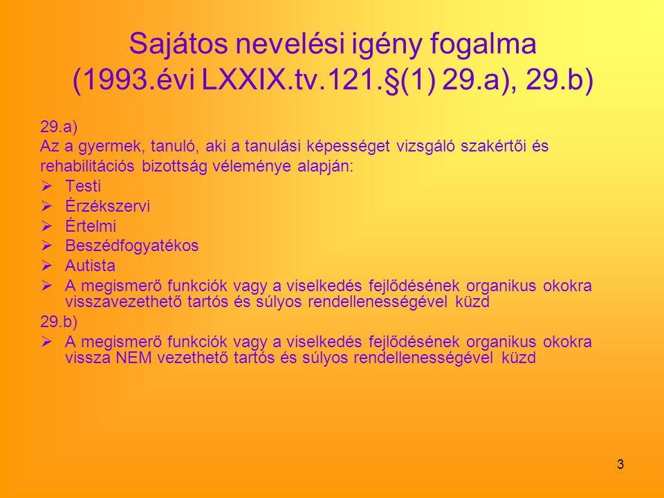 Sajátos nevelési igény fogalma (1993. évi LXXIX. tv. 121. §(1) 29