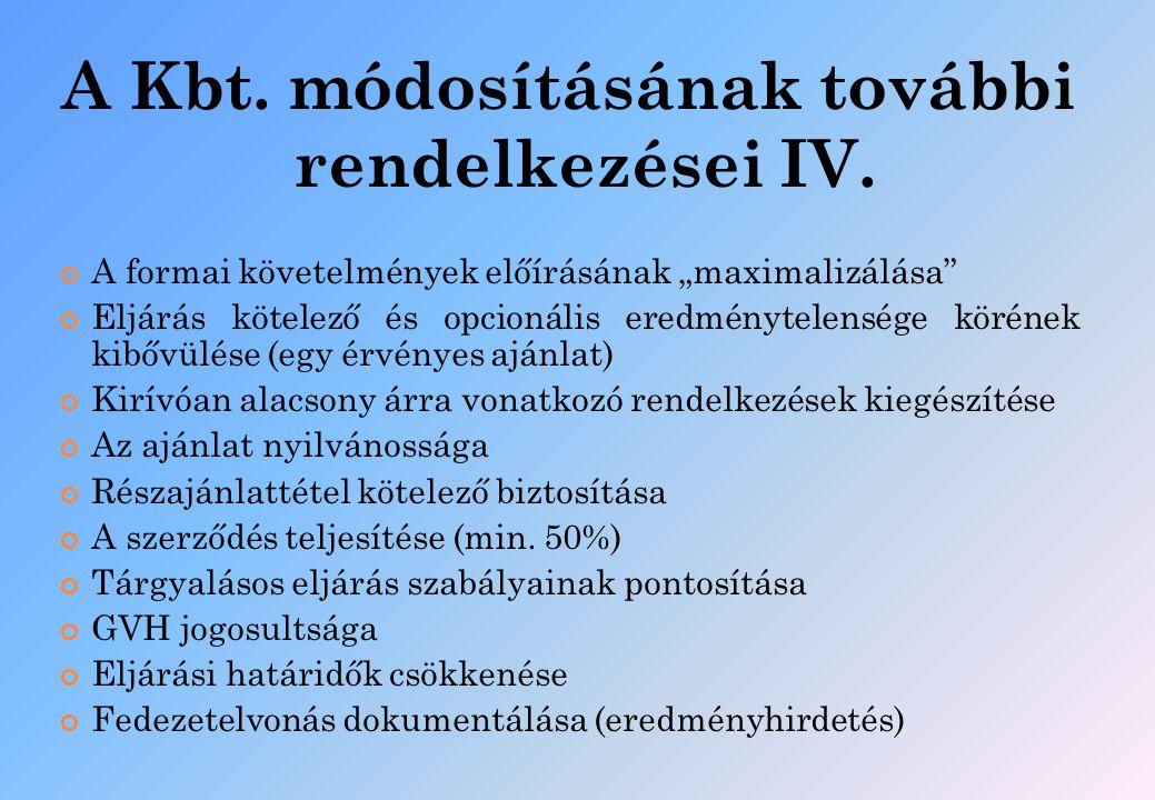 A Kbt. módosításának további rendelkezései IV.
