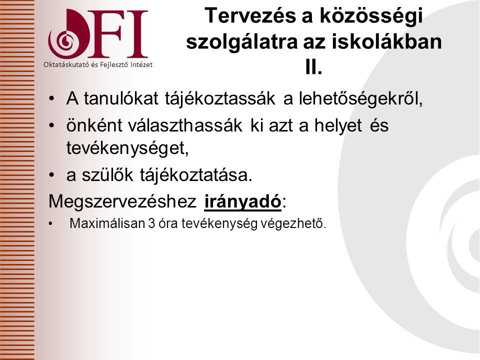 Tervezés a közösségi szolgálatra az iskolákban II.