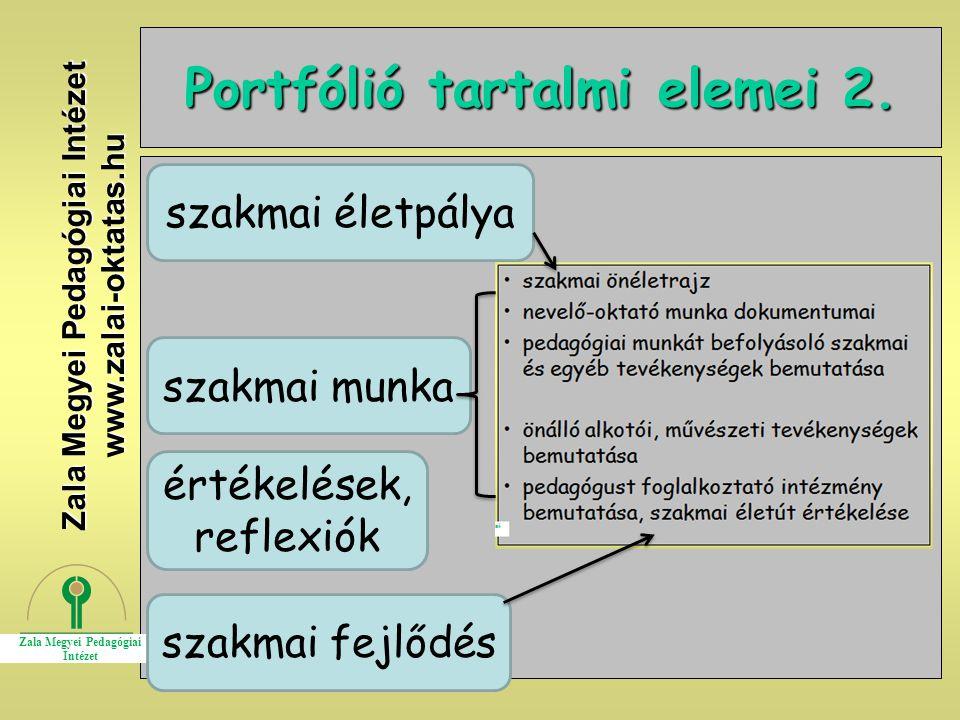 Portfólió tartalmi elemei 2.