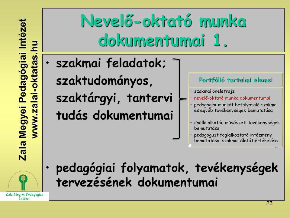 Nevelő-oktató munka dokumentumai 1.