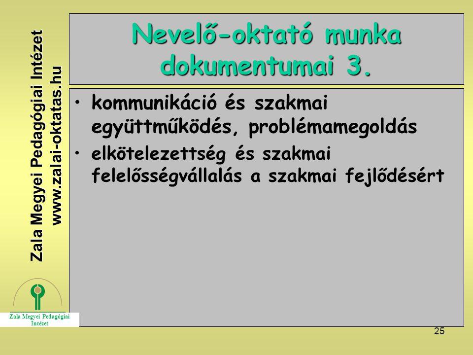 Nevelő-oktató munka dokumentumai 3.