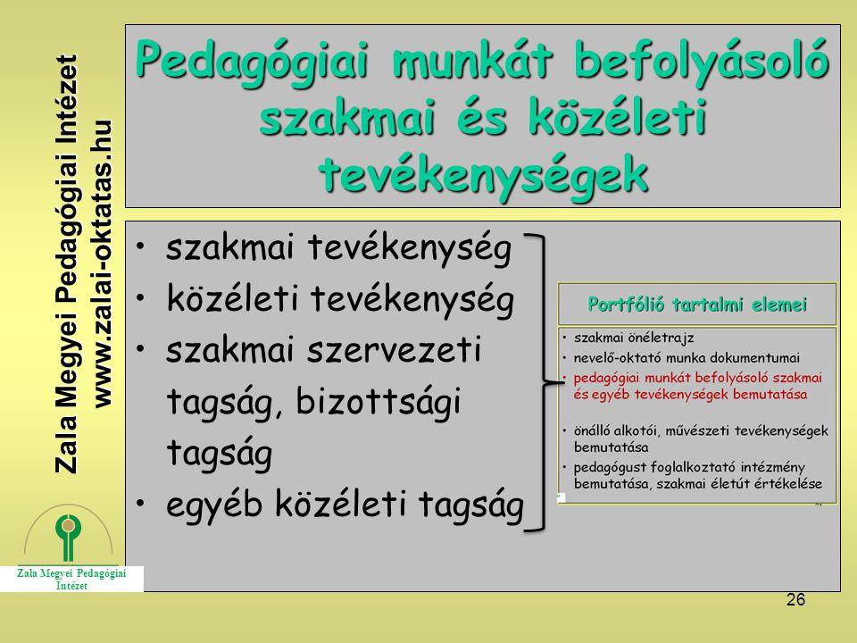 Pedagógiai munkát befolyásoló szakmai és közéleti tevékenységek