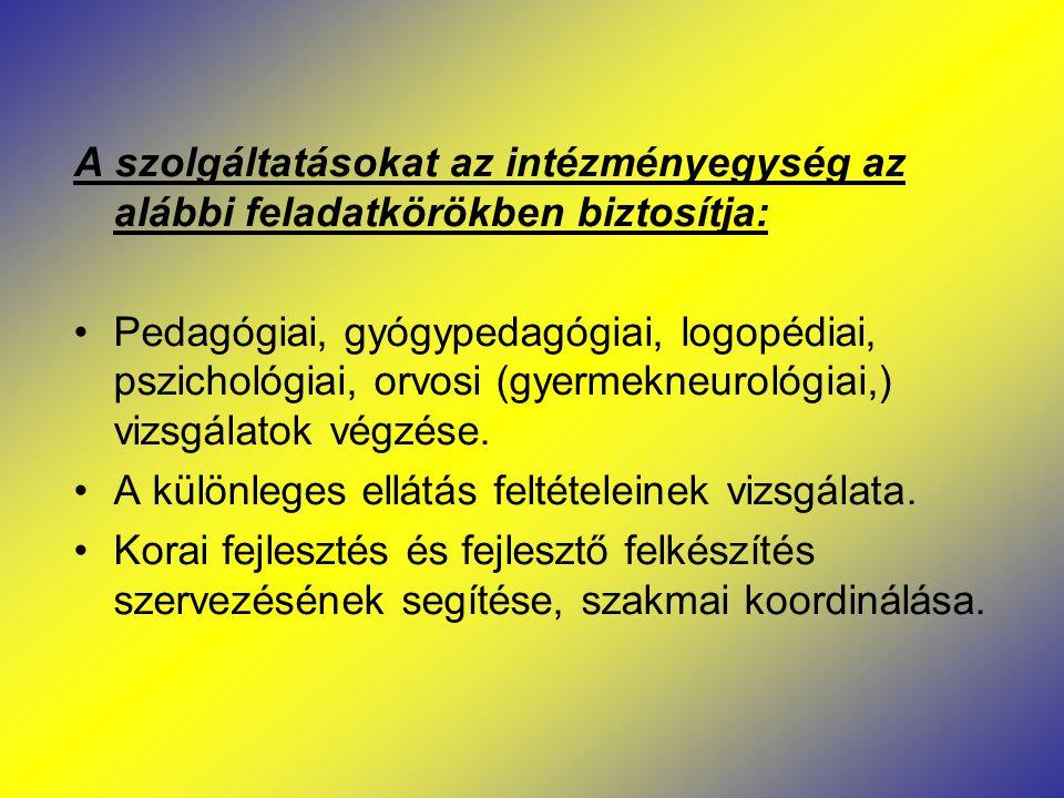 A szolgáltatásokat az intézményegység az alábbi feladatkörökben biztosítja: