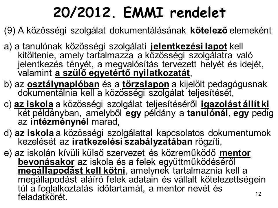 20/2012. EMMI rendelet A közösségi szolgálat dokumentálásának kötelező elemeként.