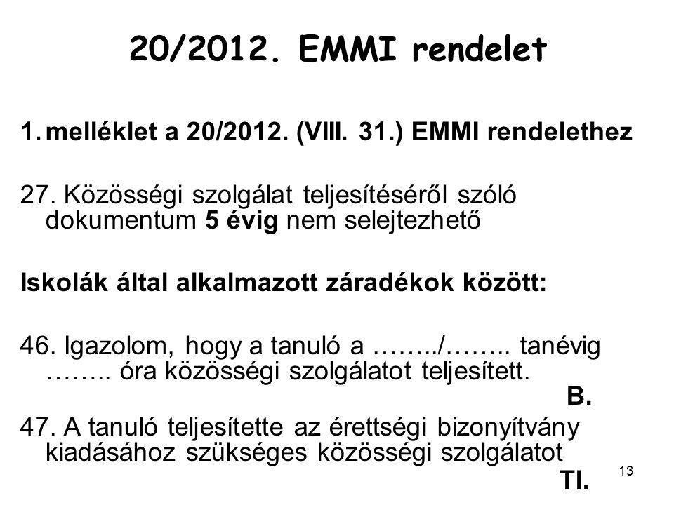 20/2012. EMMI rendelet melléklet a 20/2012. (VIII. 31.) EMMI rendelethez.