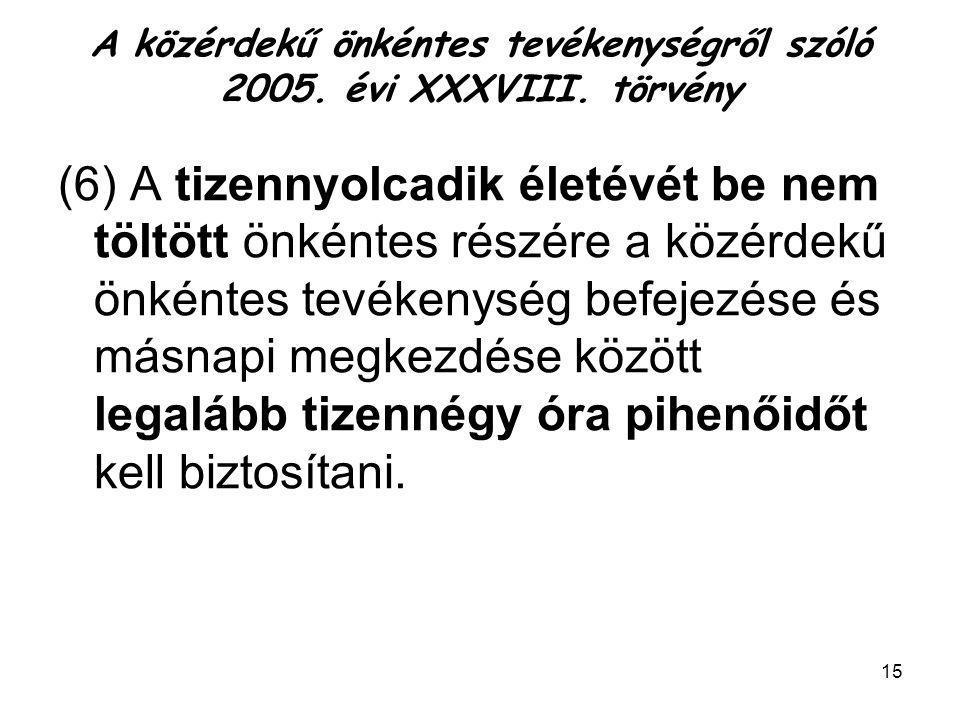 A közérdekű önkéntes tevékenységről szóló 2005. évi XXXVIII. törvény