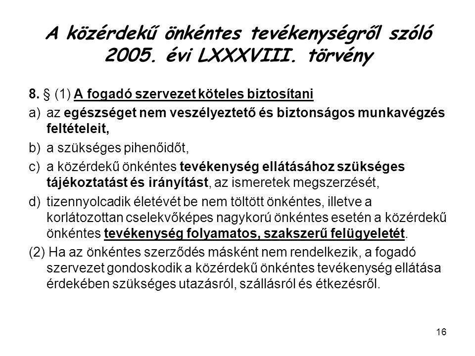 A közérdekű önkéntes tevékenységről szóló 2005. évi LXXXVIII. törvény