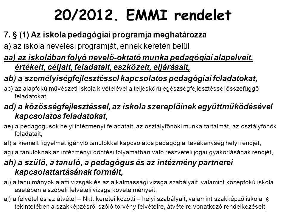 20/2012. EMMI rendelet 7. § (1) Az iskola pedagógiai programja meghatározza. a) az iskola nevelési programját, ennek keretén belül.