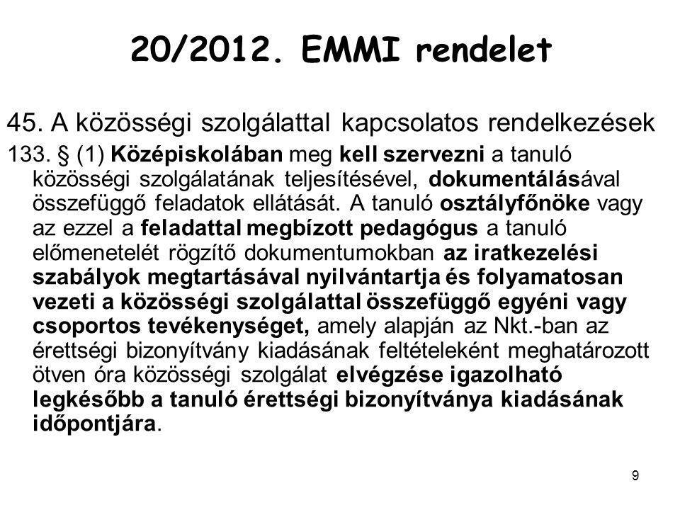20/2012. EMMI rendelet 45. A közösségi szolgálattal kapcsolatos rendelkezések.