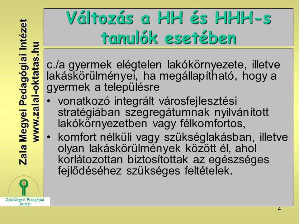 Változás a HH és HHH-s tanulók esetében