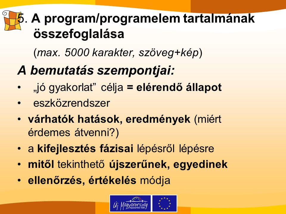 5. A program/programelem tartalmának összefoglalása