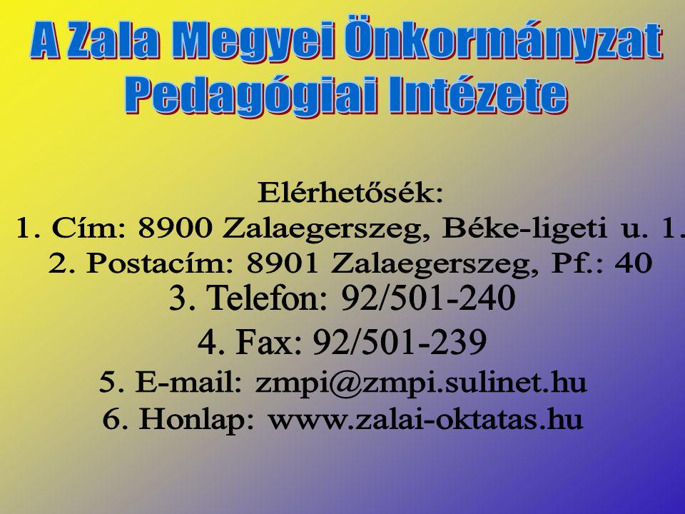 1. Cím: 8900 Zalaegerszeg, Béke-ligeti u. 1.