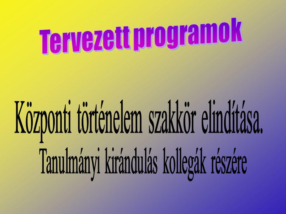 Tervezett programok Központi történelem szakkör elindítása.