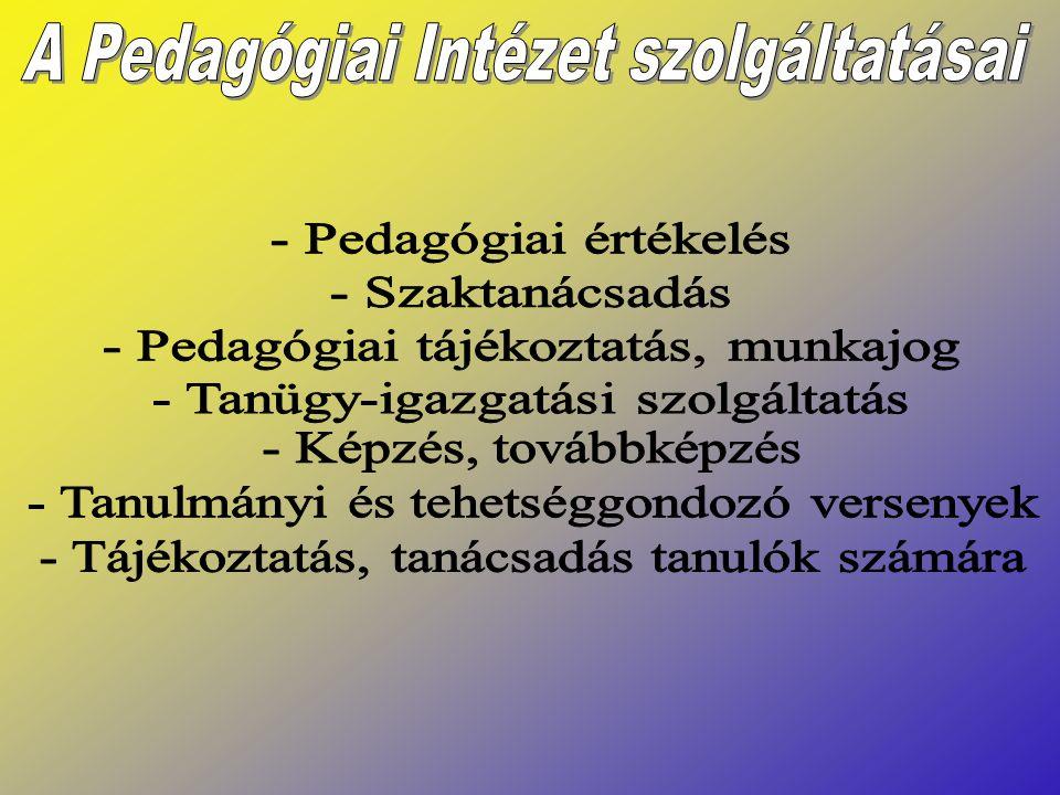 A Pedagógiai Intézet szolgáltatásai