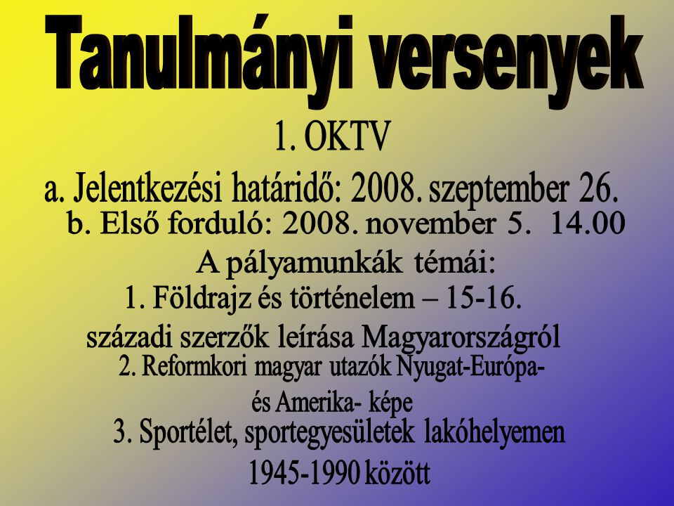 Tanulmányi versenyek 1. OKTV
