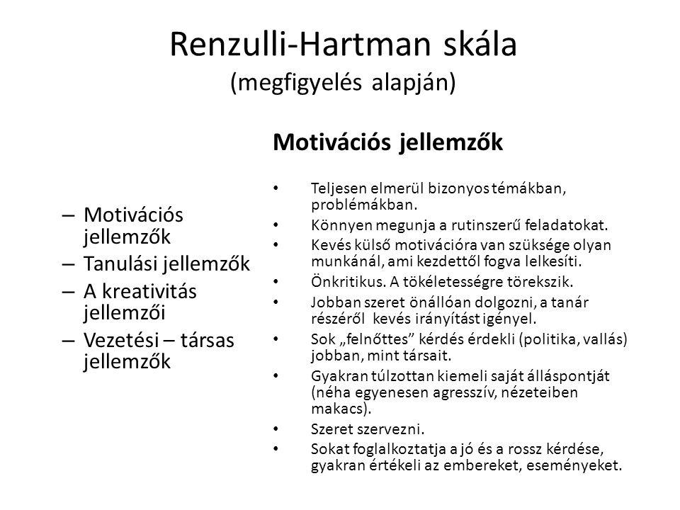 Renzulli-Hartman skála (megfigyelés alapján)