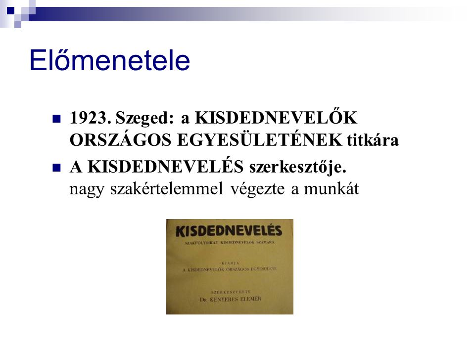 Előmenetele 1923. Szeged: a KISDEDNEVELŐK ORSZÁGOS EGYESÜLETÉNEK titkára.