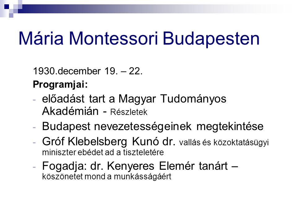 Mária Montessori Budapesten