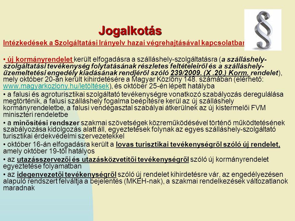 Jogalkotás Intézkedések a Szolgáltatási Irányelv hazai végrehajtásával kapcsolatban.