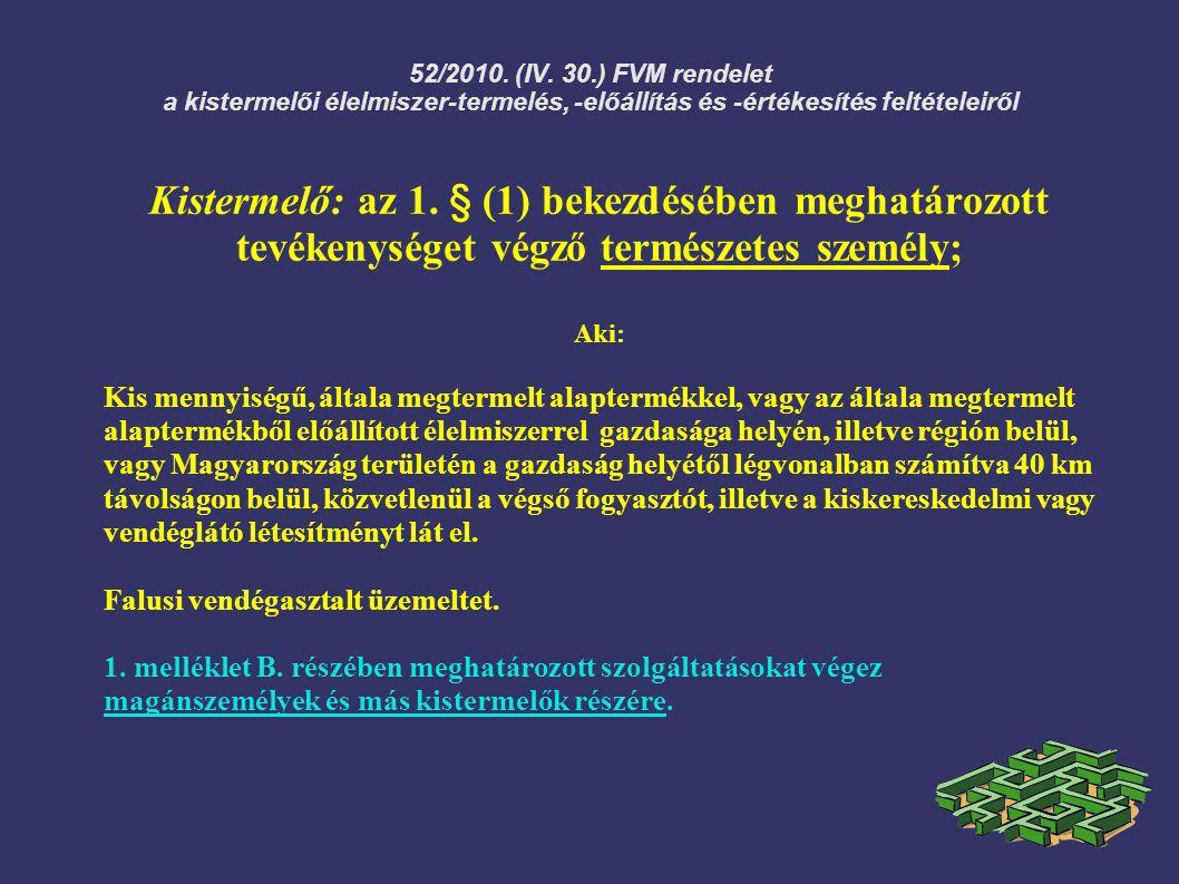52/2010. (IV. 30.) FVM rendelet a kistermelői élelmiszer-termelés, -előállítás és -értékesítés feltételeiről