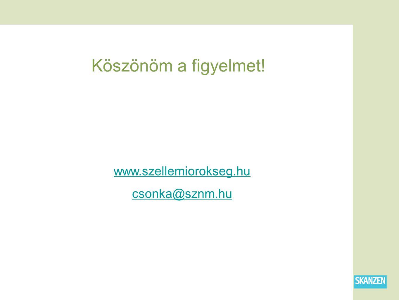 Köszönöm a figyelmet! www.szellemiorokseg.hu csonka@sznm.hu
