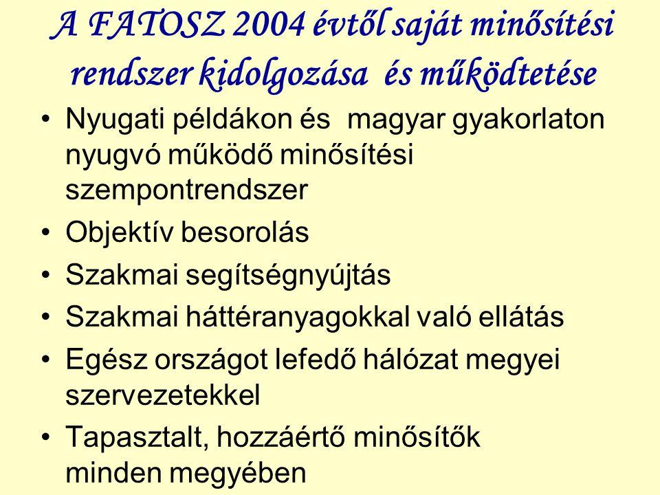 A FATOSZ 2004 évtől saját minősítési rendszer kidolgozása és működtetése