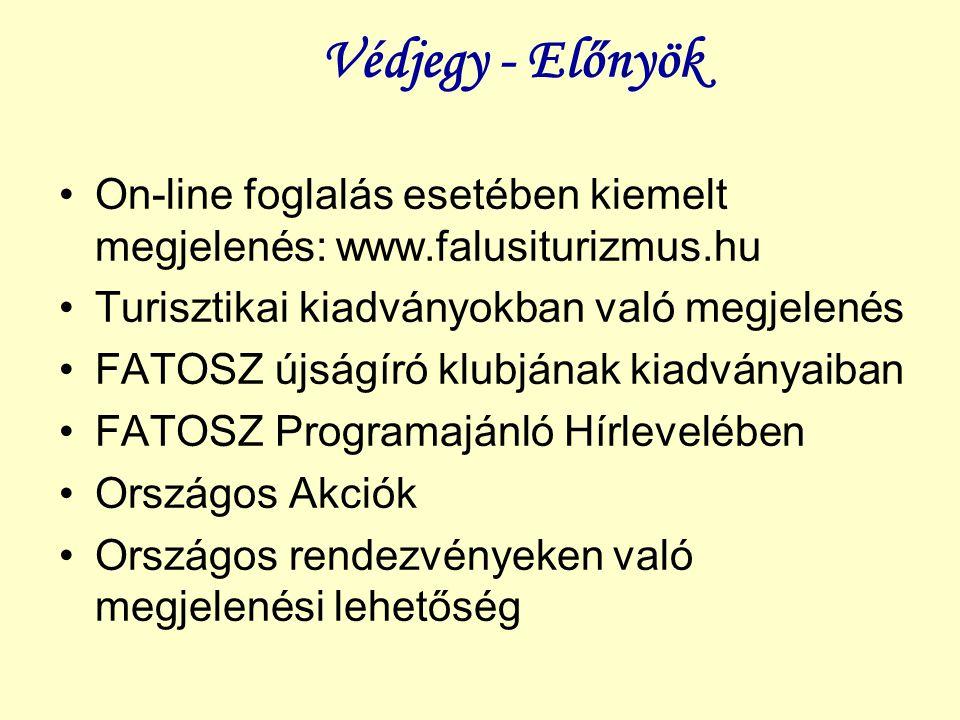 Védjegy - Előnyök On-line foglalás esetében kiemelt megjelenés: www.falusiturizmus.hu. Turisztikai kiadványokban való megjelenés.