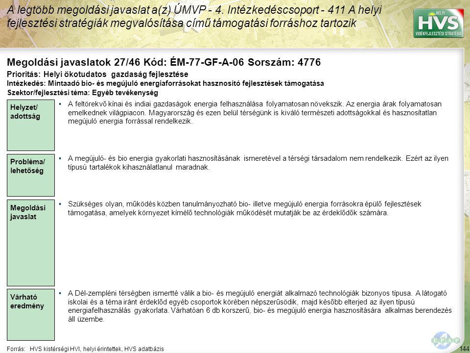 Megoldási javaslatok 27/46 Kód: ÉM-77-GF-A-06 Sorszám: 4776