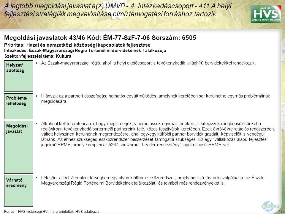 Megoldási javaslatok 43/46 Kód: ÉM-77-SzF-7-06 Sorszám: 6505