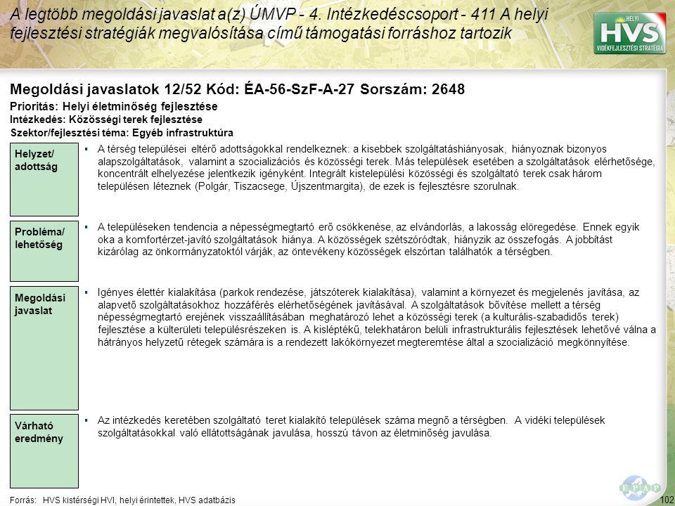 Megoldási javaslatok 12/52 Kód: ÉA-56-SzF-A-27 Sorszám: 2648