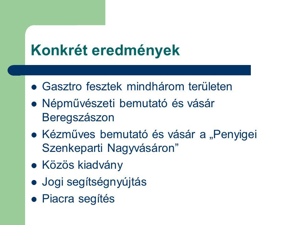 Konkrét eredmények Gasztro fesztek mindhárom területen