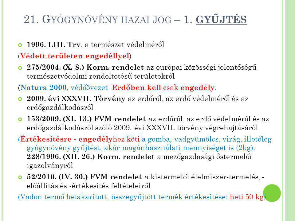 21. Gyógynövény hazai jog – 1. GYŰJTÉS
