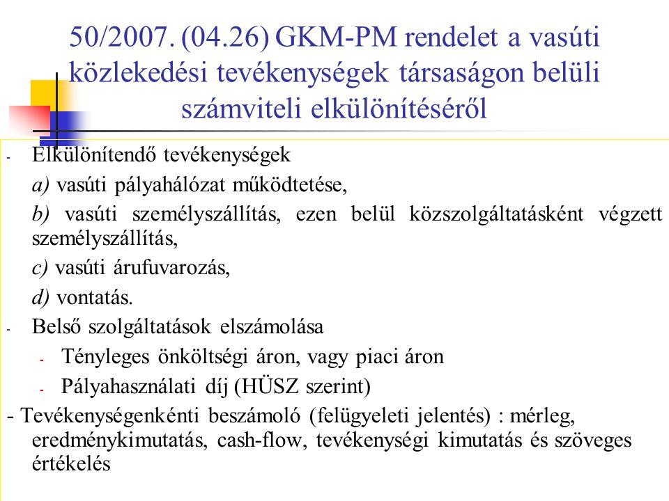 50/2007. (04.26) GKM-PM rendelet a vasúti közlekedési tevékenységek társaságon belüli számviteli elkülönítéséről