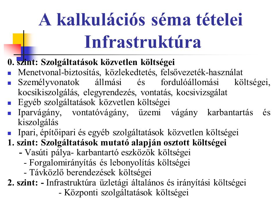 A kalkulációs séma tételei Infrastruktúra