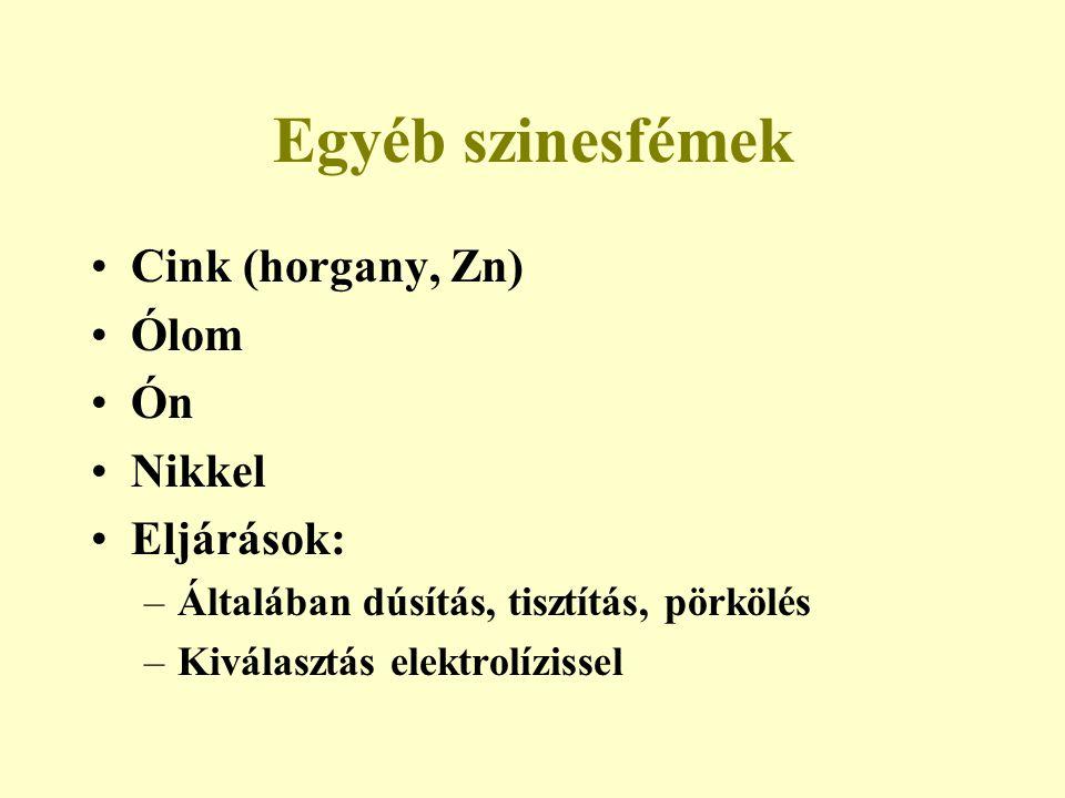 Egyéb szinesfémek Cink (horgany, Zn) Ólom Ón Nikkel Eljárások: