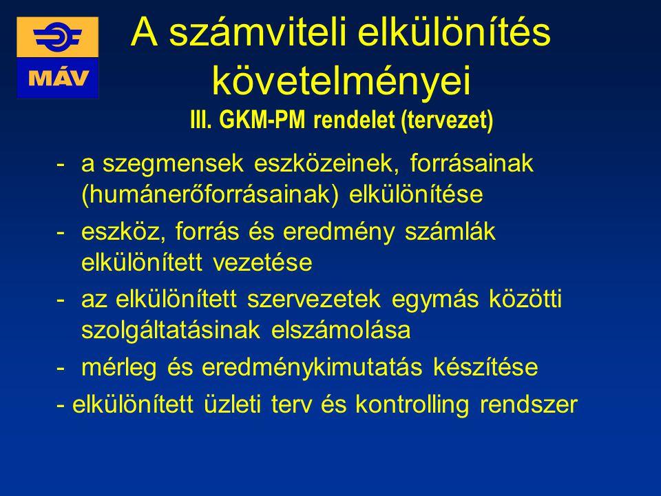 A számviteli elkülönítés követelményei III. GKM-PM rendelet (tervezet)