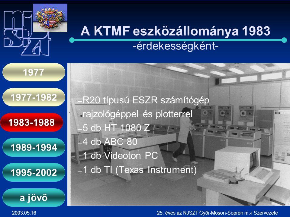 A KTMF eszközállománya 1983 -érdekességként-