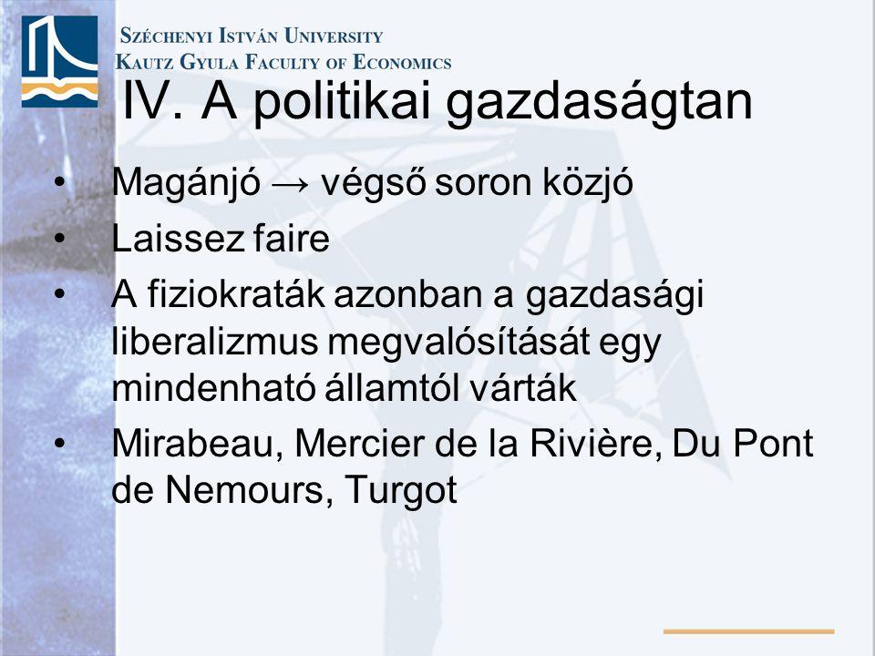 IV. A politikai gazdaságtan