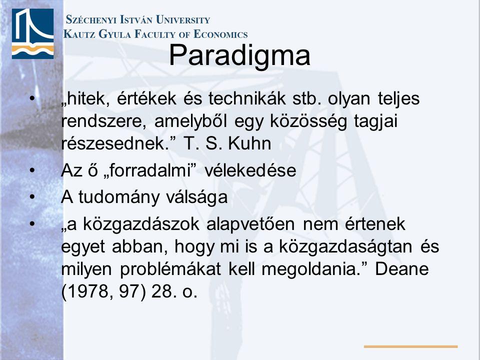 """Paradigma """"hitek, értékek és technikák stb. olyan teljes rendszere, amelyből egy közösség tagjai részesednek. T. S. Kuhn."""