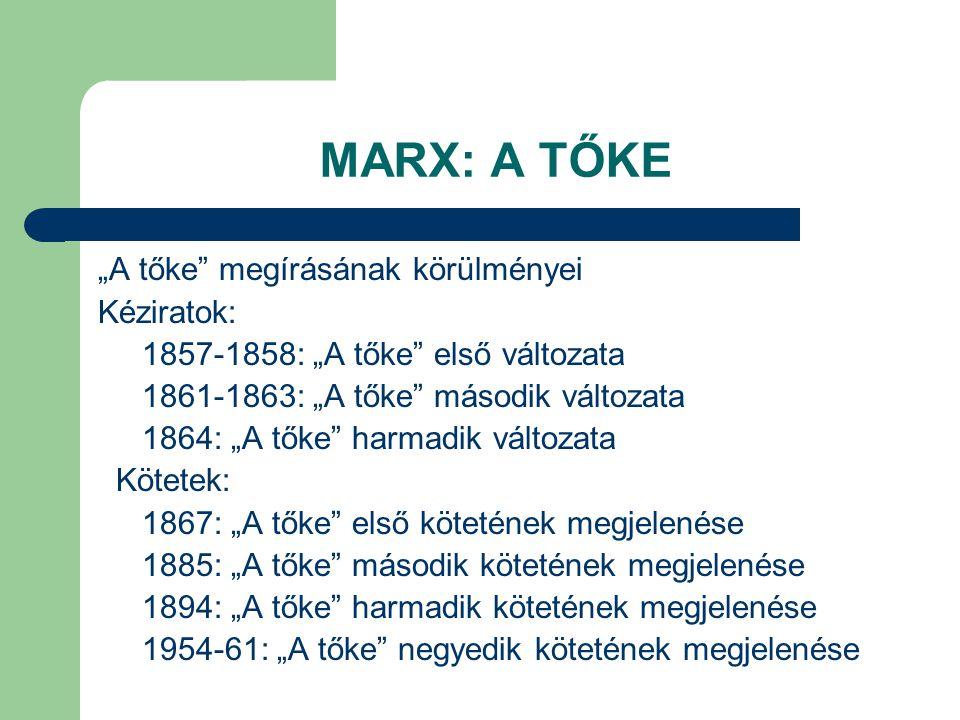 """MARX: A TŐKE """"A tőke megírásának körülményei Kéziratok:"""