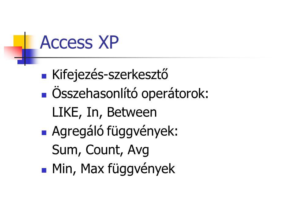 Access XP Kifejezés-szerkesztő Összehasonlító operátorok: